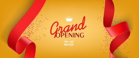 Grand opening invitation design with confetti, red ribbons, and crown. Festive template can be used for banners, flyers, posters.