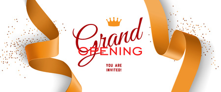 Grand opening invitation design with crown, gold ribbons and confetti. Festive template can be used for banners, flyers, posters.