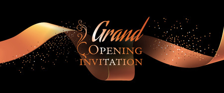 Grand opening invitation flyer template with gold ribbon, swirls and confetti on black background. Festive design can be used for banners, invitation cards, posters