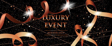 Luxury event members only festive banner with curled ribbons, glitter and sparks on black background. Lettering can be used for invitations, flyer template, coupon entrance