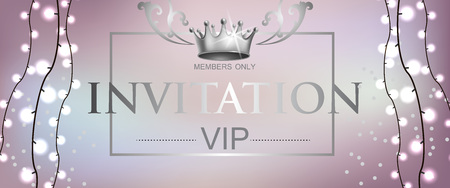 VIP invitation lettering with light garland. Party invitation design. Typed text, calligraphy. For leaflets, labels, invitations, posters or banners.
