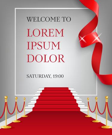 Welcome to lettering with red carpet entrance. Party invitation design. Typed text, calligraphy. For leaflets, brochures, invitations, posters or banners.