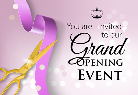 You are invited to our grand opening event lettering with crown. Purple design with golden scissors cutting ribbon. Illustration can be used for invitation cards, layout, posters and leaflets