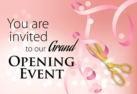 You are invited to our grand opening event lettering with ribbon. Pink background with glowing light effect. Illustration with lettering can be used for invitation cards, layout, posters and leaflets