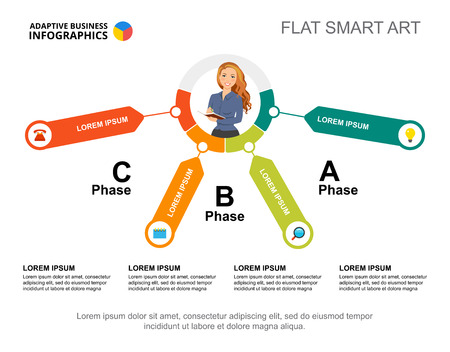 Three phases process chart template for presentation. Business data. Abstract elements of diagram, graphic. Corporate, finance, marketing or production creative concept for infographic.