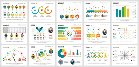 Colorful accounting or statistics concept infographic charts set. Business design elements for presentation slide templates. For corporate report, advertising, leaflet layout and poster design.