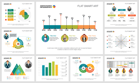Bunte Analyse- oder Planungskonzept-Infografikdiagramme festgelegt. Business-Design-Elemente für Präsentationsfolienvorlagen. Für Unternehmensberichte, Werbung, Broschürenlayout und Plakatgestaltung. Vektorgrafik