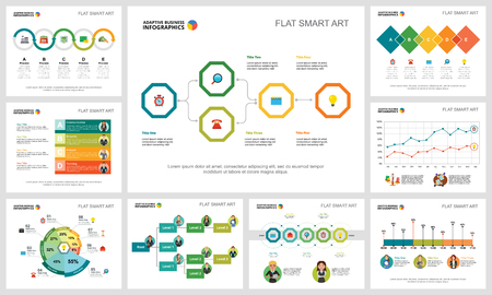 Colorful statistics or training concept infographic charts set. Business design elements for presentation slide templates. For corporate report, advertising, leaflet layout and poster design. Illustration