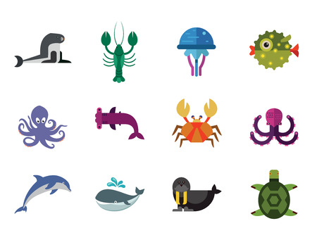 Aqua icons set. Vector icons of dolphin, turtle, sea lion and other sea creatures