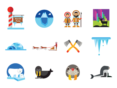 Artic Icon Set. Polar Bears Dogteam Eskimos North Lights North Pole Igloo Lumberjack Axes Iceberg Whale Walrus Ice Walrus Face Sea Calf