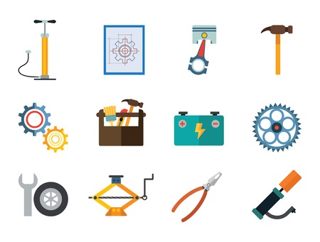 Auto repair service vector icons set. Flat icons of spanner, gear wheels, tire inflator and other instruments