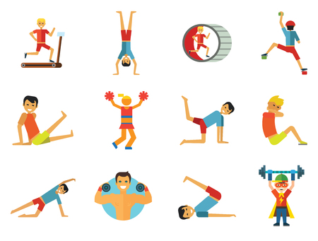 Exercising icons set. Vector icons of running man, rock climber, bodybuilder and other sportsmen Illustration