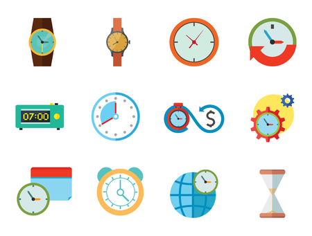 Time Icon Set. Time Is Money Time Management Calendar World Time Alarm Clock Sandglass Round-the-clock Sign Electronic Alarm Clock Wristwatch Illustration