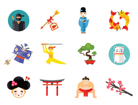 Ninja Icon Set. Japanese Kite Japanese Cranes Torii Gate Bonsai Tree Koi Fish Japanese Ninja Sumo Wrestler Female Ninja Hamaya Arrow Geisha Japanese Lucky Cat Geisha Head Sakura Twig
