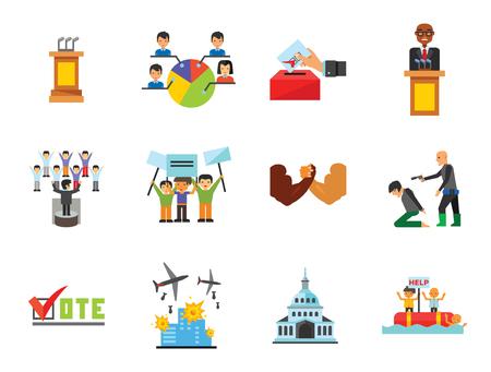 Vote Icon Set. Debates Politician Politics Leadership Vote White House Demonstration Election Electorate Refugees Hostage War Combat