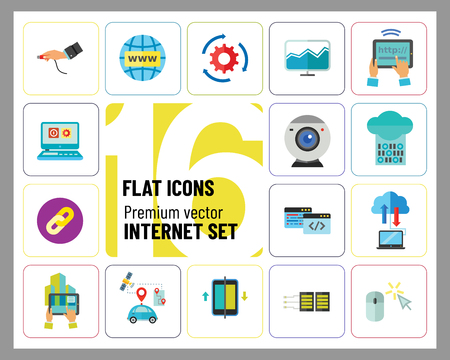 Internet Icon Set. Web Camera Mouse Synchronization Data Flow Hyperlink Internet Sign Tablet Internet Connection Internet Of Things Driverless Car Idea Server Cloud Storage Tablet PC Programming