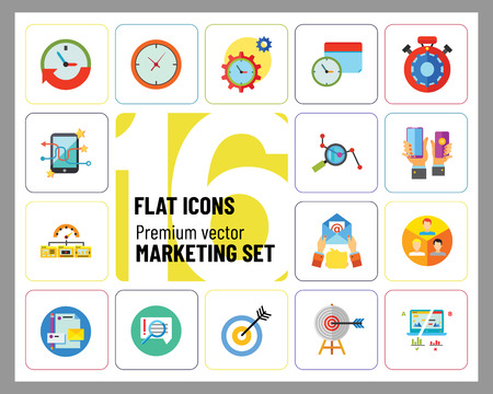 Marketing Icon Set. Targeting Users Split Test E-mail Marketing Brand Identity Marketing Analysis Social Media Marketing Processing SEO Target Hands With Smartphones Product Placement