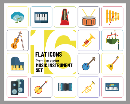Music Instrument Icon Set. Drum And Drumsticks Balalaika Banjo Instrument Classic Accordion Violin And Bow Trumpet Xylophone Grand Piano Scottish Bagpipe Synthesizer Acoustic Speakers Ilustrace