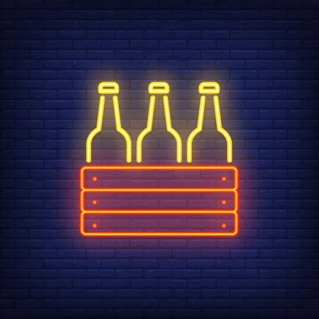 Neon icon of box with bottles. Beer, cold drink, alcoholic beverage. Bar or pub concept. Can be used for signs, billboards, banners Vector Illustration