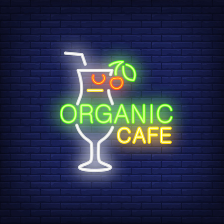 Neon icon of organic cafe. Lemonade, cocktail, glass, straw, berry. Beverage and drink concept. Can be used for signs, billboards, banners