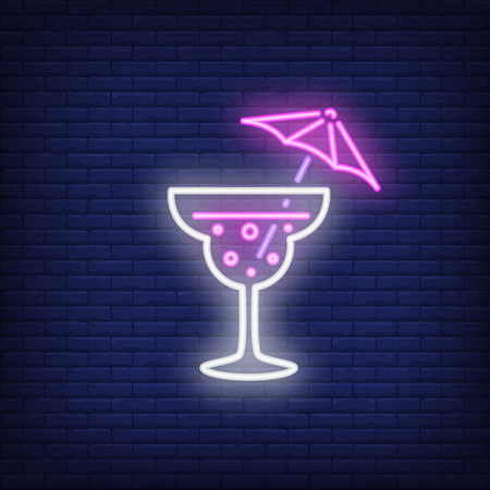 Neon icon of umbrella cocktail. Glass, cold drink, alcoholic beverage. Bar and party concept. Can be used for signs, billboards, banners
