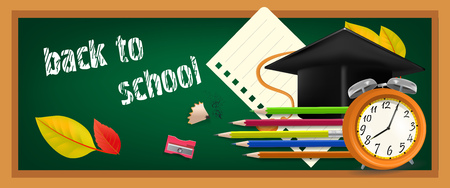 Back to school banner design with graduation cap, pencils, alarm clock, autumn leaves and chalkboard. Text can be used for signs, brochures, posters