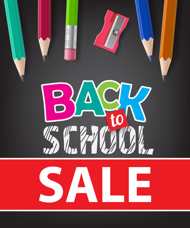 Back to school, sale lettering with pencils. Offer or sale advertising design. Typed text, calligraphy. For leaflets, brochures, invitations, posters or banners.