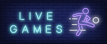 Live games neon text with football player kicking ball. Sport and betting advertisement design. Night bright neon sign, colorful billboard, light banner. Vector illustration in neon style.
