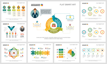 Colorful finance or management concept infographic charts set. Business design elements for presentation slide templates. Can be used for annual report, advertising, flyer layout and banner design.