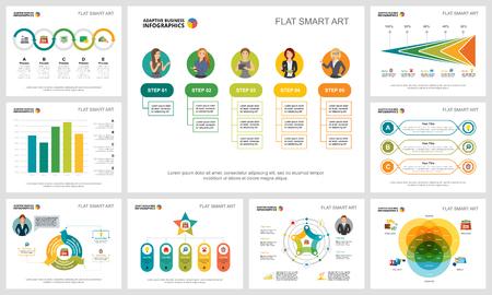 Colorido conjunto de gráficos infográficos de concepto de producción o finanzas. Elementos de diseño empresarial para plantillas de diapositivas de presentación. Puede utilizarse para informes financieros, diseño de flujo de trabajo y diseño de folletos.