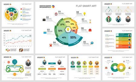 Ensemble d'infographie coloré concept marketing ou finance. Éléments de conception d'entreprise pour les modèles de diapositives de présentation. Peut être utilisé pour le rapport financier, la mise en page du flux de travail et la conception de brochures.