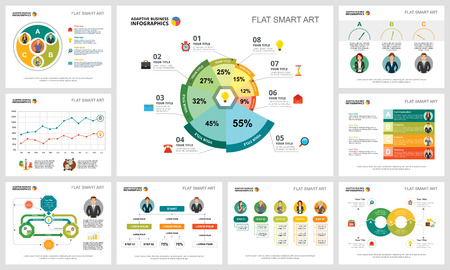 Colorful marketing or finance concept infographic charts set. Business design elements for presentation slide templates. Can be used for financial report, workflow layout and brochure design.
