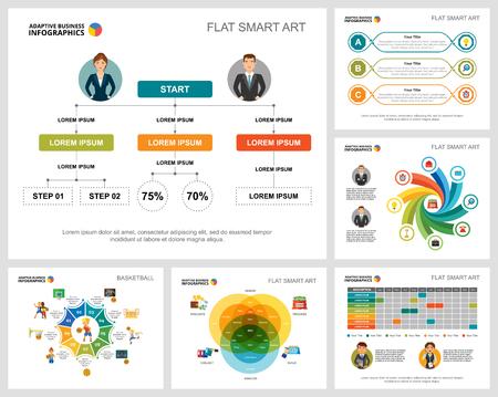 Set di grafici infografici di concetto colorato di basket o finanza. Elementi di design aziendale per modelli di diapositive di presentazione. Può essere utilizzato per la relazione annuale, la pubblicità, il layout del volantino e il design di banner. Vettoriali