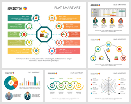 Colorful accounting or statistics concept infographic charts set. Business design elements for presentation slide templates. For corporate report, advertising, leaflet layout and poster design. 向量圖像