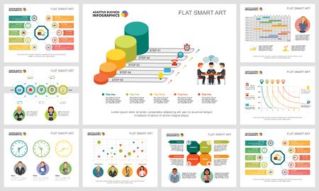 Ensemble de graphiques infographiques de concept de flux de travail ou de travail d'équipe coloré. Éléments de conception d'entreprise pour les modèles de diapositives de présentation. Peut être utilisé pour le rapport annuel, la publicité, la mise en page de prospectus et la conception de bannières.