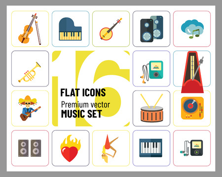 Music Icon Set. Trumpet Player With Headphones Drum Acoustic Speakers Burning Heart Mariachi Skeleton Guitar Player MP3 Player Metronome DJ Record Player Synthesizer Chorus Clouds With Note