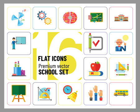 School Icon Set. School Pencil School Bus Pencil Stand Stationery Math Formula Knowledge Vitruvian Man Professor Lesson School Board Teacher Students Illusztráció