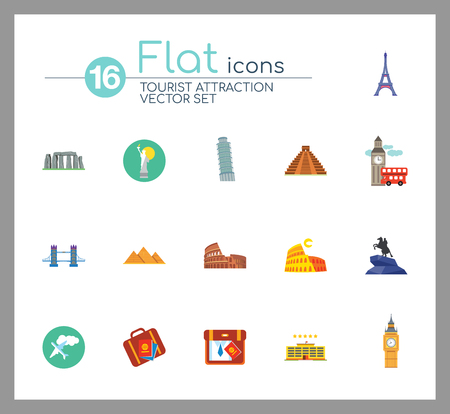 Tourist attraction icons set. Thirteen vector icons of Eiffel Tower, Big Ben, Pyramids and other tourist attractions Vektorové ilustrace