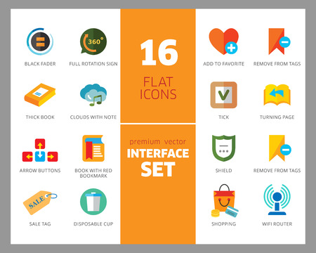 Interface icon set. Tag sign, shield, map pointer, book. App design concept. Can be used for topics like notification, software, mobile device