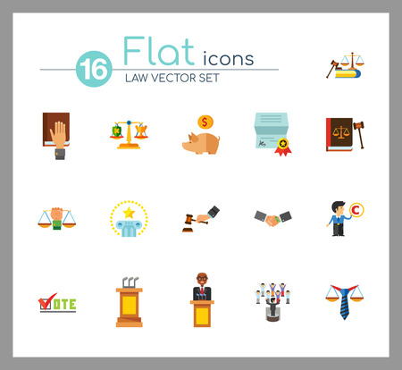 Law Icon Set. Copyright Hand With Gavel Scales Law Concept Scales With Cup And Shield Corruption Civil Rights Business Law Piggy Bank Lawyer Sign Law Shield Justice Patenting Illustration
