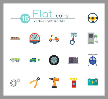 Vehicle icons set with helicopter, electrocart and trolley car. Thirteen vector icons