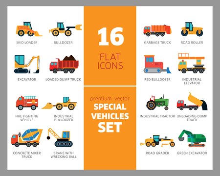 Special vehicles icon set. Skid loader, tractor, industrial elevator. Vehicle concept. Can be used for topics like industry, construction, road building Vektoros illusztráció
