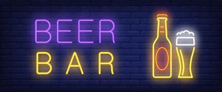 Beer bar neon style banner. Text, bottle and beer glass on brick background. Night bright advertisement. Can be used for signs, posters, billboards Illustration