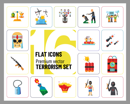 Terrorism Icon Set. Kamikaze Fire Cocktail Dynamite Army Tags Hostage Bomb With Timer Machine Gun Missiles Explosion Refugees Terrorist Shooting Target War Ilustración de vector
