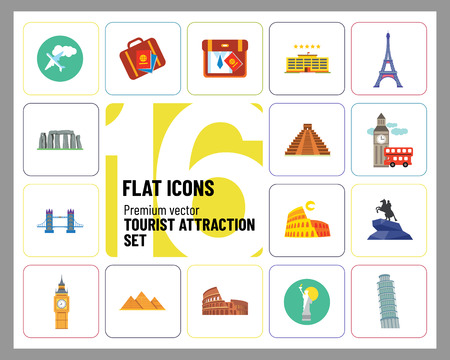 Tourist attraction icons set. Thirteen vector icons of Eiffel Tower, Big Ben, Pyramids and other tourist attractions 矢量图像