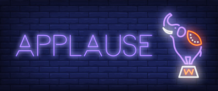 Applause neon style banner. Text and circus elephant on brick background. Night bright advertisement. Can be used for signs, posters, billboards Vektorgrafik