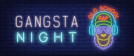 Gangsta night, old school rap neon style banner. Text and rapper character shape on brick background. Night bright advertisement. Can be used for signs, posters, billboards
