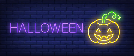 Halloween neon style banner. Text and festive smiling pumpkin on brick background. Night bright advertisement. Can be used for signs, posters, billboards
