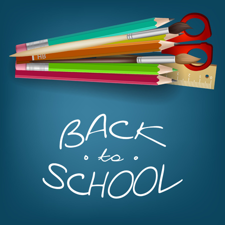 Back to school lettering with colorful supplies. Offer or sale advertising design. Typed text, calligraphy. For leaflets, brochures, invitations, posters or banners. Illustration