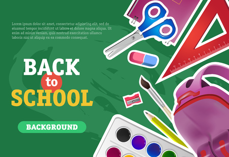 Back to school, background lettering with backpack, scissors and ruler. Offer or sale advertising design. Typed text, calligraphy. For leaflets, brochures, invitations, posters or banners.
